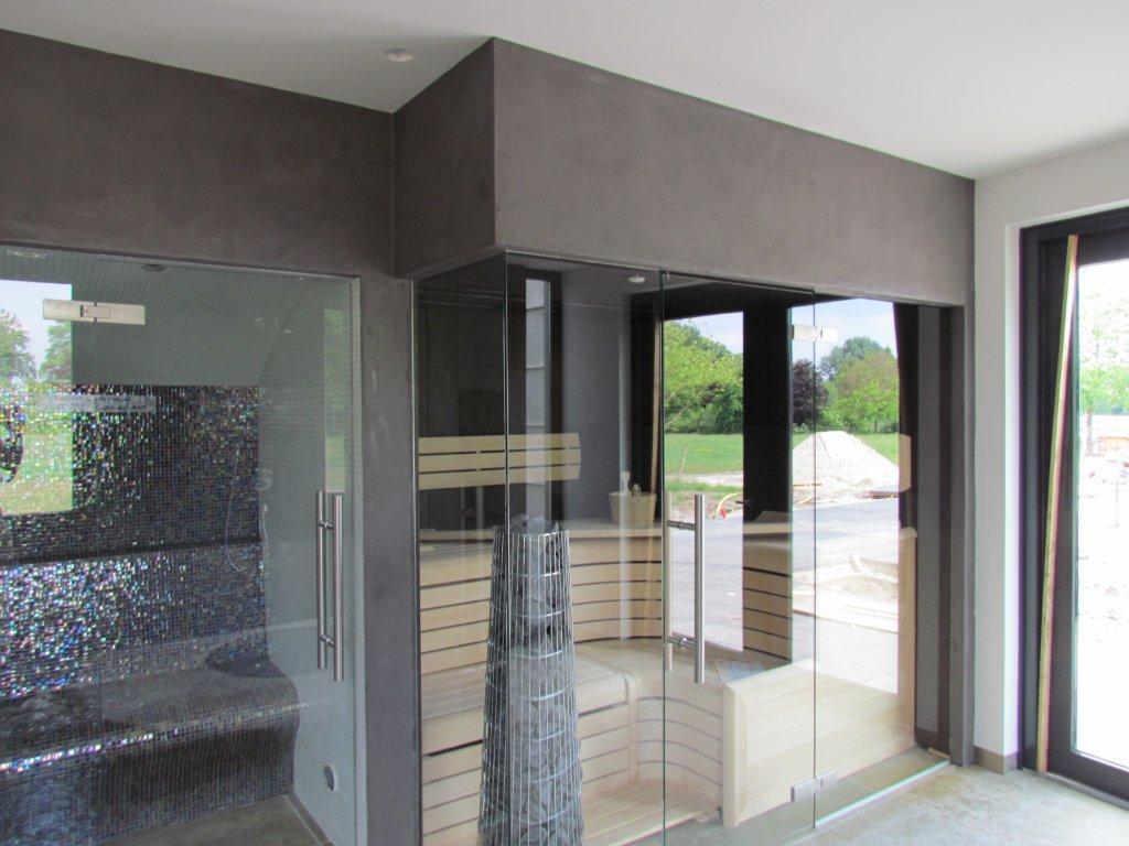 Beton Afwerking Badkamer : Badkamer sauna beton ciré